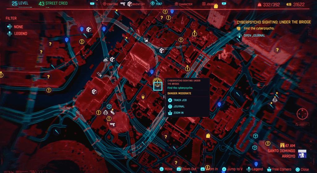 Cyberpunk 2077 Cyberpsycho Sighting Under The Bridge Map.png