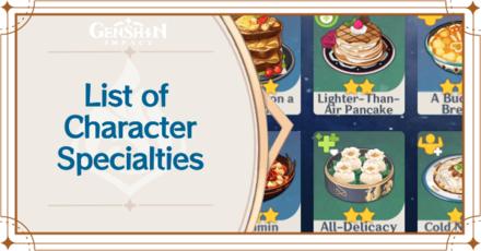 Genshin - List of Character Specialty Foods