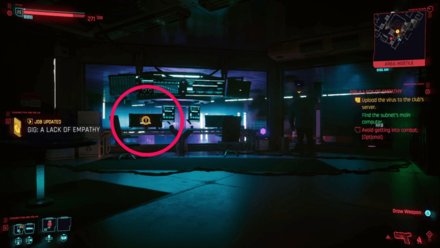 Cyberpunk 2077 - Upload virus to the club
