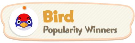 ACNH - Bird Popularity Winners