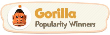 ACNH - Gorilla Popularity Winners
