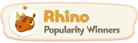 ACNH - Rhino Popularity Winners