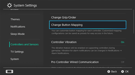 Button Mapping in Settings