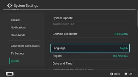 Nintendo Switch Settings Screen