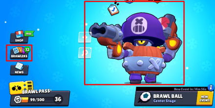 How to Upgrade Characters - Tap on Brawlers or the Brawler in the Main Menu (Brawl Stars).png