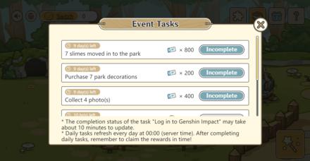Genshin - Slime Paradise Event Tasks