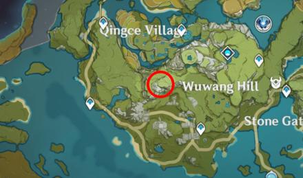 Genshin - Brownwing Falcon Map Location - West of Wuwang Hill