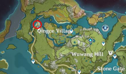 Genshin - Crimson Finch Map Location - Northeast Bridges in Qingce Village