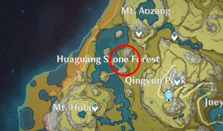 Genshin - Umbertail Falcon Map Location - Huaguang Stone Forest