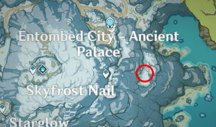 Genshin - Great Snowboar King Map Location - East of Skyfrost Nail