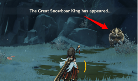 Genshin - Great Snowboar King Location - East of Skyfrost Nail