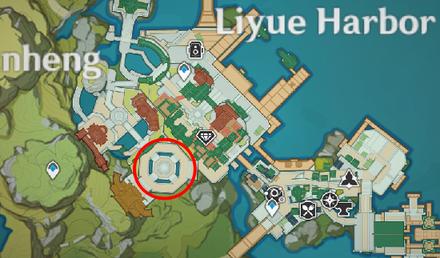 Genshin - Emerald Finch Map Location - Yujing Terrace in Liyue Harbor