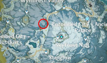 Genshin - Silkwhite Falcon Map Location - Northwest of Skyfrost Nail