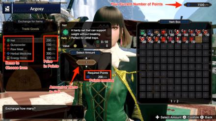 Argosy Exhange Items for Points