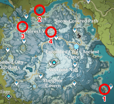 Genshin - Vitalized Dragontooth Locations in Map