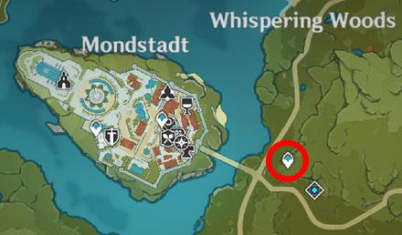 Genshin - Squirrel Map Location - Near Mondstadt City