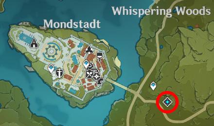 Genshin - Squirrel Map Location - Near Mondstadt City (2)