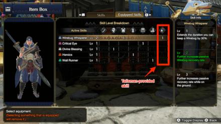 Talisman Provides Skill Points