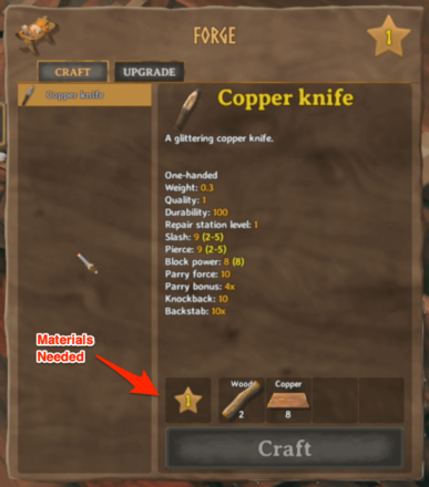 Craft Weapons Armor and Tools