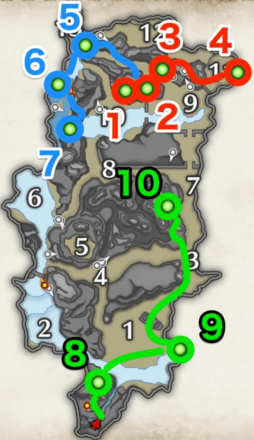 wisplantern farming route from every camp.png
