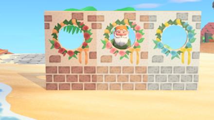 ACNH - Brick and Wreath Wall