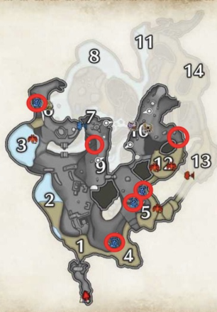 Lava Caverns Firecell Stone Locations - Upper Level.png