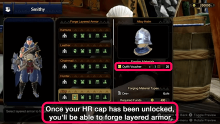 Monster Hunter Rise - Outfit Voucher Forging Layered Armor.png