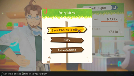 Select Save Photos to Album from the Retry Menu after completing a course.png