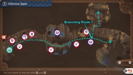 New Pokemon Snap - Outaway Cave Illumina Spot Branching Route Map