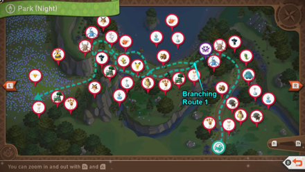 New Pokemon Snap - Park (Night) Branching Routes Map