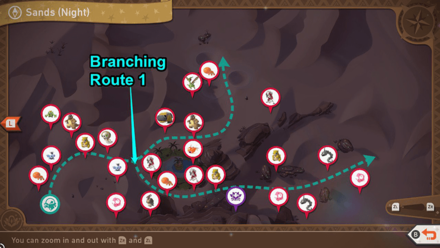 New Pokemon Snap - Sands (Night) Branching Route Map
