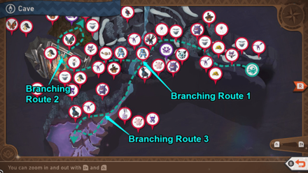 New Pokemon Snap - Cave Branching Routes Map